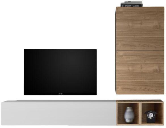 Afbeelding van Pesaro Mobilia TV-wandmeubel set Anderson in hoogglans wit met eiken
