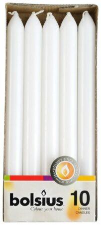 Afbeelding van Witte Bolsius Dinerkaarsen - 230/20 - Wit - 10 St
