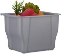 Grijze Relaxdays afvalbak keuken - vuilnisbak - biobak - opvangbak keukenafval - met deksel