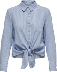 Witte ONLY ONLLECEY LS STRIPE KNOT DNM SHIRT NOOS Dames Blouse - Maat XS