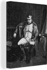 OneMillionCanvasses Canvas Schilderij Napoleon Bonaparte illustratie - Zwart-wit illustratie van Napoleon Bonaparte op een stoel canvas 2cm - 60x80 cm - Foto print op Canvas schilderij (wanddecoratie woonkamer / slaapkamer)