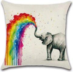 Grijze By Javy Kussenhoes Rainbow - Olifant - Kussenhoes - 45x45 cm - Sierkussen - Polyester