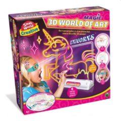 Boeketbinderij.be Small World Creative 3D Tekenbord Eenhoorns + 4 Markers + 3D Bril