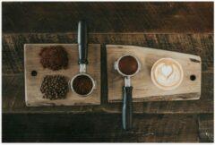 Beige KuijsFotoprint Poster – Gemalen Koffiebonen en Koffie op een Plankje - 60x40cm Foto op Posterpapier
