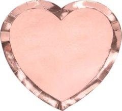 Roze PartyDeco Borden Rose Gold hartvorm 21 cm (6 stuks)
