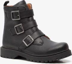 Groot leren meisjes biker boots - Zwart - Maat 31