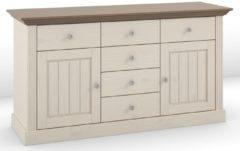 DS Style Dressoir Monaco L 145 cm breed in wit whitewash met steen