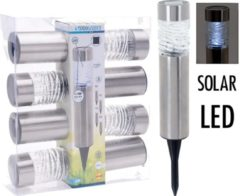 Pro Garden Buitenspot Solar Led 39 X 6 Cm Staal Zilver 4 Stuks