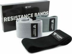 Donkergrijze Rockerz Fitness Rockerz - Weerstandsbanden - Booty Band - Resistance band - Fitness elastiek - 3 Stuks - Zwart