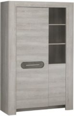Gamillo Furniture Vitrinekast Sandro Large van 180 cm hoog in licht grijs eiken