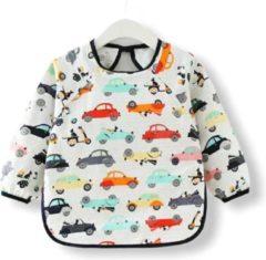Kinderschort 'Car' lange mouwen - Slab met mouwen - Slabbetje Little hippo - Waterafstotend - Knutselen - Kliederschort - 12-36 Maanden