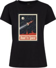 Urban classics Mister tee ladies road to space box t-shirt in kleur zwart in maat S