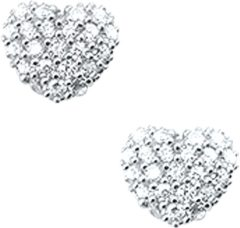 Zilveren The Jewelry Collection Oorknoppen Hart Zirkonia - Zilver Gerhodineerd