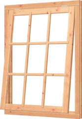 Trendhout | Uitzetraam met kozijn | 108.5x143 cm | Onbehandeld