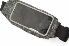 Discountershop Sport Heupband - Hardloopband - Sportband met Smartphonehouder - Waterdichte Heuptas - Grijs - Joggen - Dames en heren