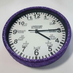 Leerzameklokken.nl Leer klokkijken-leerzame kinder klok- glitter wandklok paars/wit 20 cm