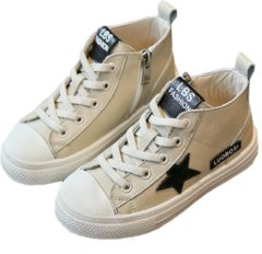 Zandkleurige QY Leren sneaker Star – zand