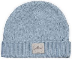 Lichtblauwe Jollein Muts 2 tot 9 mnd Soft knit soft blue