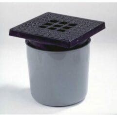 Zilveren Dyka ABS vloerput met gietijzeren rooster met onderuitlaat 75mm 20x20cm inbouwdiepte 190 200mm met waterslot 50mm 20024092