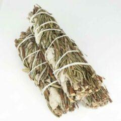 FineGoods Witte Salie met rozemarijn - white sage with rosemary - smudge stick - 1 stuk - 10cm - meditatie - yoga - huis reiniging - zuivering