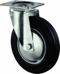 Kelfort Zwenkwiel, zwart rubber wiel met stalen velg en rollager, 100kg 125mm