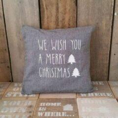Maison Marcella Kerstkussen sierkussen Kussenhoes tekst kussen kerst We wish you a Merry Christmas kussensloop kussentje hoes kerstversiering decoratie | grijs 40x40 met wit en vulling