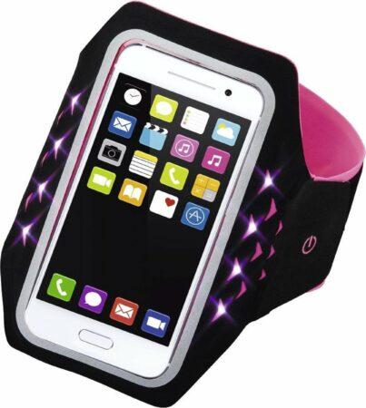 """Afbeelding van Roze Hama Sport-armband """"Running"""" voor smartphones, maat XXL, met led, pink"""