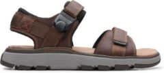 Clarks Un Trek Part Heren Sandalen - Dark Tan Lea - Maat 45