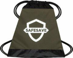 SafeSave gymtas – Waterdichte rugtas met trekkoord - zwemtas - schooltas - parachutestof - groen