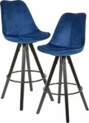 Nancy's Willmar Barkrukken - Barstoel - Set Van 2 - Fluweel Bekleed - Rugleuning - 77cm - Massief Hout - Donkerblauw/Roze