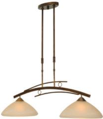 Bronze Hanglamp Bolzano 2-lichts bruin gepatineerd smeedijzer