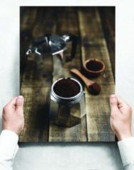 Witte Creatief Art Wandbord: Gemalen koffie in een italiaanse mokkapot - 30 x 42 cm