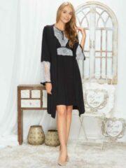 Licht-grijze Merkloos / Sans marque Miss Fabio Kimono van modal stof en kant 63/2-176V/1, maat S/M, zwart/grijs