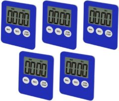 Wood, Tools & Deco Set van 5 digitale timers, alarmklokken, blauw