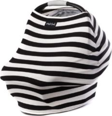 Zwarte Milk Snob Cover B&W SIGNATURE STRIPE | Premium autostoel luifel en hoes voor baby's | Borstvoedingsdoek & Verzorgingssjaal
