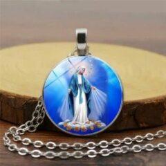 Zilveren Van Santen Fashion Charm Jewelry Ketting met hanger Maria Wonderdadige blauw