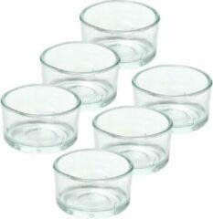 Transparante Trend Candles 6x Theelichthouders/waxinelichthouders van glas 4,2 x 3 cm - Glazen kaarsenhouders - Woondecoraties