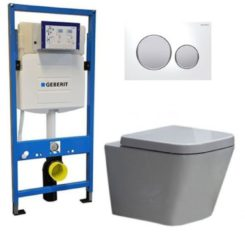 Douche Concurrent Geberit UP 320 Toiletset - Inbouw WC Hangtoilet Wandcloset - Alexandria Sigma-20 Wit Mat Chroom