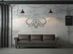 Zwarte Drart - Metalen Buffel 80 cm x 43 cm - metalen wanddecoratie - metal buffel
