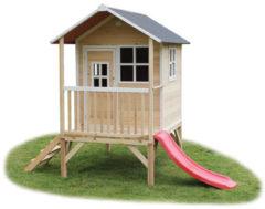 Naturelkleurige EXIT Loft 300 - Speelhuis met glijbaan - Naturel