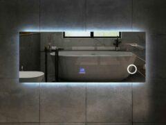 Mawialux LED spiegel   160cm   Rechthoek   Verwarming   Digitale klok   Bluetooth   ML-160NMF