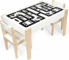 Naturelkleurige Beboonz Kindertafel met 2 stoeltjes van hout met extra avonturen speelblad - Kindertafel met opbergruimte- extra set werkbladen- avonturenpad. Speeltafel/ opbergtafel/ krijttafel/ kleurtafel -Beboonz Storage Adventure