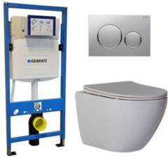 Douche Concurrent Geberit UP 320 Toiletsets - Inbouw WC Hangtoilet Wandcloset - Shorty Flatline Sigma-20 Mat/Glans Chroom