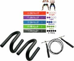 Paarse Db Skills Fitnesspakket - Weerstandsbanden, Speed Springtouw en Opdruksteunen foam - Sportpakket - thuis sporten - Resistance Bands - Fitness elastiek - Full body trainer - Sport banden - Jump rope - push up bars