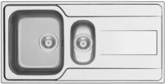 Nemo Go Rhea spoeltafel 1000 x 500 mm D92 mm met 15 bakken roestvrij staal linnen afwerking sifon dubbel plaatsbesparend plug met overloop plug zonder overloop inoxclean staaltje 50ml