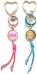Blauwe Jewellicious Designs Foto sieraad sleutelhanger I Love You - bag charm - zilver - hartje - roze, aqua & zwart assorti - 16 cm