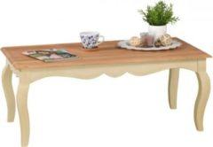 Wohnling WOHNLING Vintage Couchtisch Weiß massiv 110 x 60 cm | Wohnzimmertisch aus Mango Massivholz | Opium Beistelltisch rechteckig