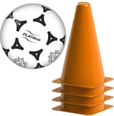 Oranje pionnen 17 cm set van 4 stuks metv plastic voetbal - voetbal training pionnen