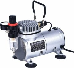 Hofftech Airbrusch Compressor Mini Olievrij 0- 4 bar 1 cillinder 1/6PK CE gekeurd met drukregelaar
