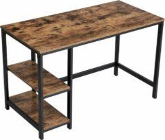 Bruine VASAGLE Bureau, computertafel in industrieel design, voor bureau, met 2 planken aan de rechter- of linkerzijde, werktafel voor op kantoor, woonkamer, eenvoudig gemonteerd, vintage